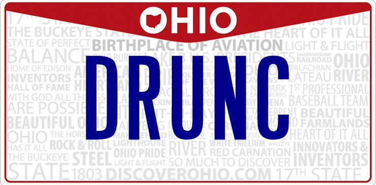 Ohio Drunk License Plate