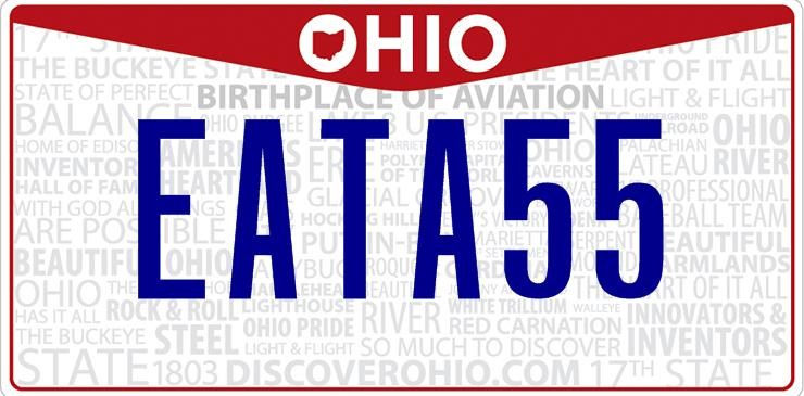 Ohio Eat Ass License Plate