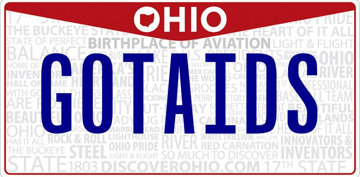 Ohio Got Aids License Plate