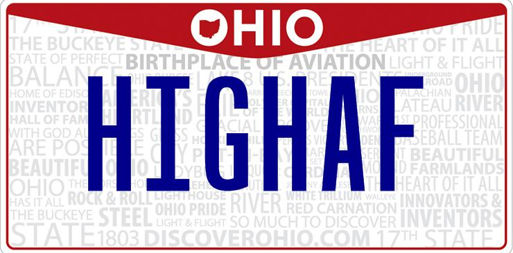 Ohio High As Fuck License Plate