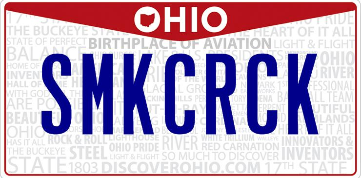 Ohio Smoke Crack License Plate