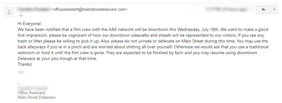 A&E Network Filming in Delaware, OH. Please Do Not Shit In Street.