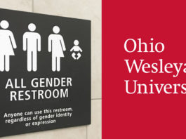 Trans restroom at Ohio Wesleyan University in Delaware, Ohio
