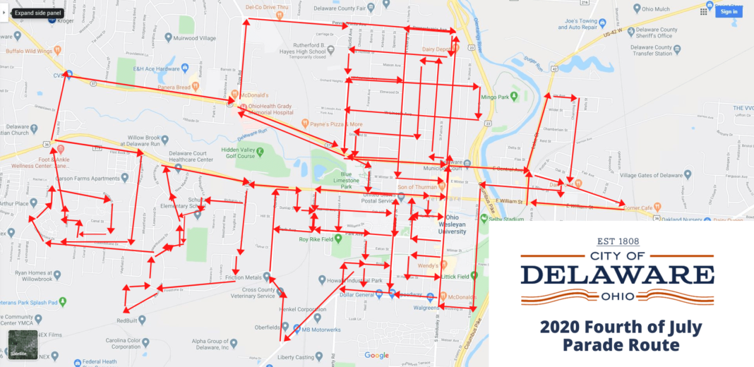Delaware Ohio 2020 July 4th Parade Route
