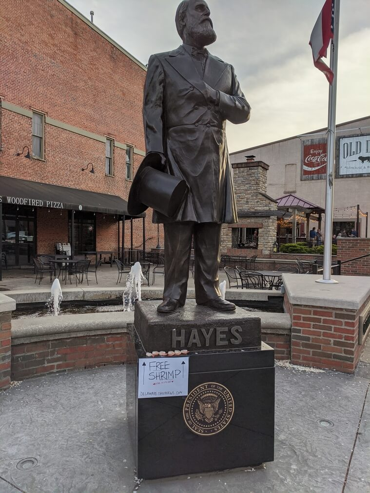Free Shrimp at the Rutherford B. Hayes statue in downtown Delaware, Ohio