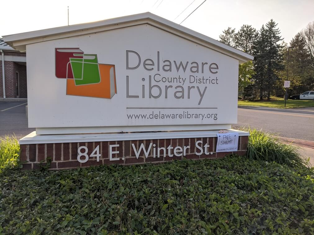 Free shrimp at the Delaware County District Library main branch in downtown Delaware, Ohio